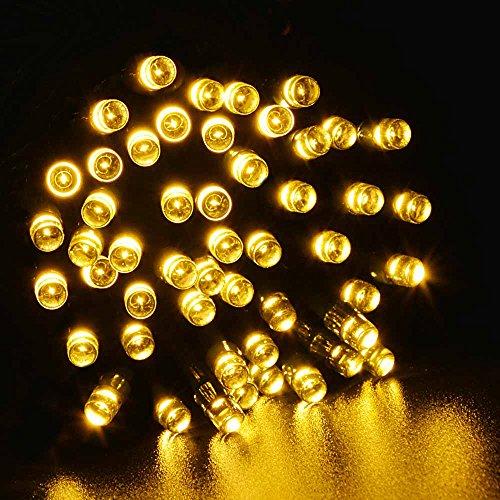 Ledertek Solar Powered Fairy String Lights 39Ft 12M 100 Led 8 Modes Christmas Lights For Outdoor, Gardens, Homes, Wedding, Christmas Party, Waterproof (100 Led Warm White)