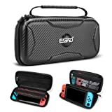 EGRD Carrying Case for Nintendo Switch-Hard Shell Protective Messenger Bag Lining 15 Games with Switch Holder Portable Travel Carrying Pouch for Nintendo Switch Console&Accessories-Black (Color: black)
