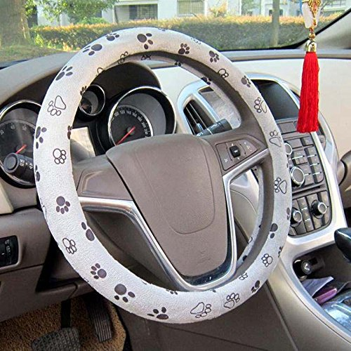 Raysell Soft Comfy Cute Paw Printed Automotive Car Steering Wheel Cover (Grey) (Steering Wheel Cover Pattern compare prices)