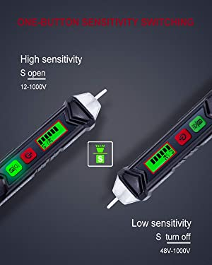 KAIWEETS Sensitive and Adjustable Non-contact Voltage Tester With LCD Display, LED Flashlight, Buzzer Alarm that Have 12V-1000V/48V-1000V Dual Range&