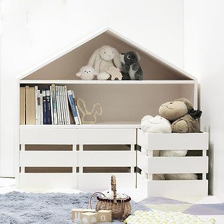 HETAO personalità Librerie per bambini Scaffali di archiviazione semplici Gabinetto per il deposito di giocattoli Libreria creativa in legno Simple Style, 38 * 110 * 98cm Mensola