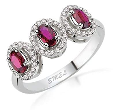 1.91 Carats 18k Solid White Gold Ruby and Diamond Engagement Wedding Bridal Promise Ring Band