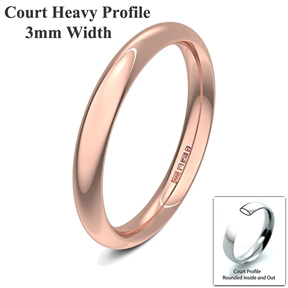 Xzara Jewellery - 9ct Rose 3mm Heavy Court Profile Hallmarked Ladies Gents 2.5 Grams Wedding Ring Band