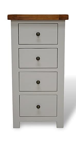 Bishop Painted Oak Chest Of Drawers Light Hardwood 4 Drawer Solid Tallboy With Dovetail Joints