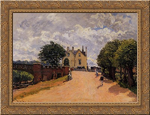 inn-at-east-molesey-with-hampton-court-bridge-24x18-gold-ornate-wood-framed-canvas-art-by-alfred-sis