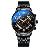 CUENA Men's Waterproof Wristwatch Analog Quartz Sport Watch Business Casual Stopwatch (Color: Black, Tamaño: Large)