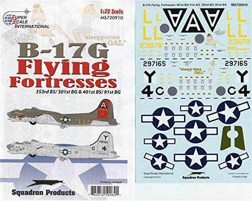Super Scale Decals 1:72 B-17G Flying Fortresses 401st BS/91st BG #MS720910*
