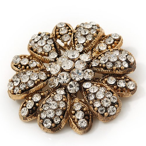 Vintage Swarovski Crystal Floral Brooch (Antique Gold) 3