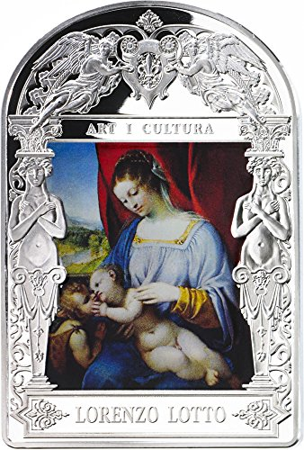 2014 AD madonna in art MADONNA AND CHILD Lorenzo Lotto Madonna in Art Silver Coin 15D Andorra 2014 Dollar Perfect Uncirculated