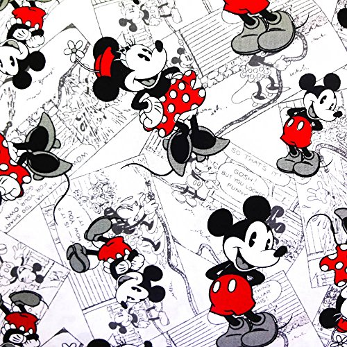 """Disney Mickey Mouse Vintage Comic Strip 100% Cotton Print Fabric, 45"""" Inches Wide - Sold By The Yard (FB)"""