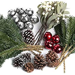 Factory Direct Craft® Holiday Bells, Pinecones, and Picks Decorating Kit for Embellishing Home and Holiday Crafts and Decor