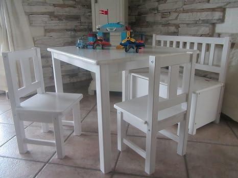 Best of JAM®–Set soggiorno 1x tavolo per bambini 2x bambini sedie, 1x cassapanca con freno coperchio (bianco) in legno massiccio nuovo & Confezione originale