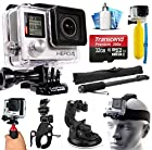 GoPro HERO4 Hero 4 Silver Edition 4K Action Camera Camcorder with Extreme Action Sport Accessory Package includes 32GB MicroSD Card + Selfie Stick Portrait Monopod + Bike Handlebar Mount + Car Windshield Suction Cup + Head Helmet Strap + Floating Float Hand Grip Bobber + Mini Tripod + Dust Cleaning Care Kit (CHDHY-401)