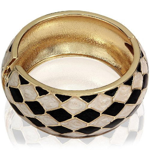 Hinged Bangle Bracelet-Black & Cream Diagonal Shape Design