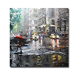 Manhattan Red Umbrella by Mark Lague Premium Gallery-Wrapped Canvas Giclee Art (Ready-to-Hang)