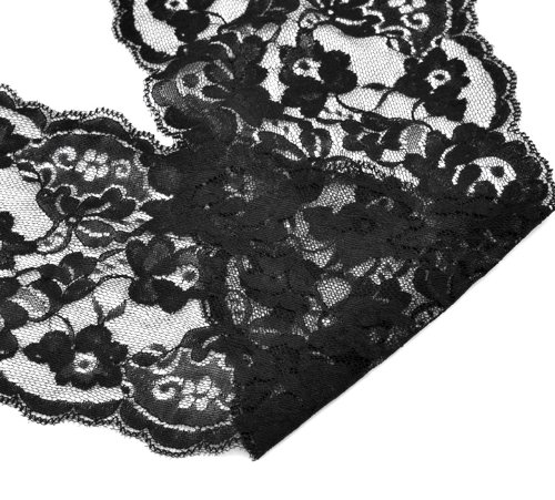 Why Should You Buy Housweety 10 Yards Black Stretch Floral Scallop Lace Edge Trim 5-3/4 wide