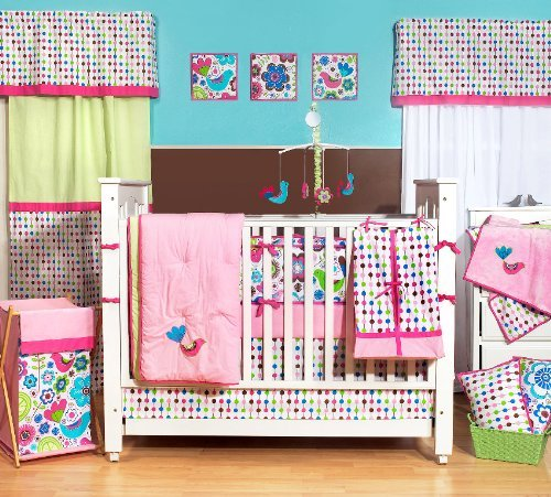 Botanical Pink 9pc Crib Set