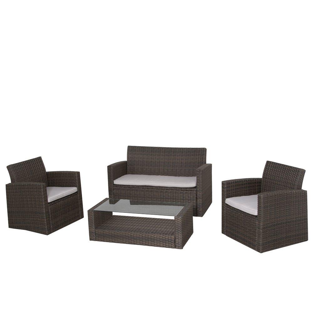 Siena Garden 922446 Lounge-Set Parla, Stahl-Untergestell, Gardino-Geflecht mocca, 2 Sessel, 1 Bank, 1 Tisch 50 x 108 cm
