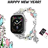 ritastar Beaded Bracelet Band Compatible for Apple-Watch 42mm/44mm,Handmade Luminous Smart Watch Wristband Replacement Jewelry with Adjustable Fragrant Heart Clasp for Women iWatch All Series(Silver) (Color: Silver, Tamaño: 42mm/44mm)