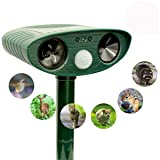 ZOVENCHI Ultrasonic Animal Repeller, Solar Powered repellent with Motion Sensor Ultrasonic and Red Flashing lights Outdoor Waterproof Farm Garden Yard repellent, Cats, Dogs, Foxes, Birds, Skunks, rod (Color: Repellent-003)