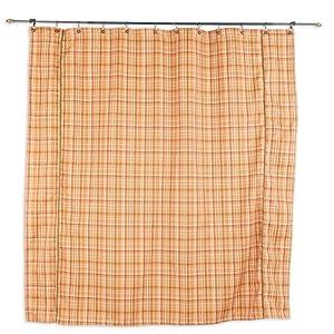Upstream Plaid Coral Standard Cut Brown Corded Shower Curtain