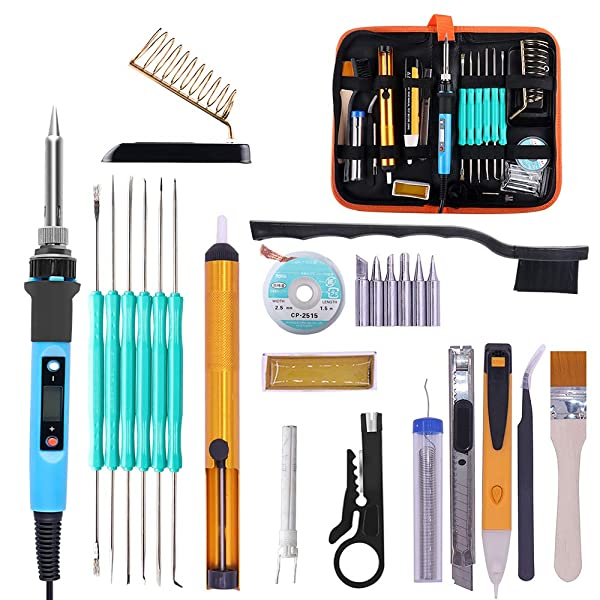 PJLSW Soldering Iron Kit, [Upgraded] 80W Temp Adjustable with Thermostatic Digital-Controlled LCD Display Welding Tool, 6 Soldering iron tips, Desoldering Pump, Stand, Solder Wick, Tweezer, Carry Bag