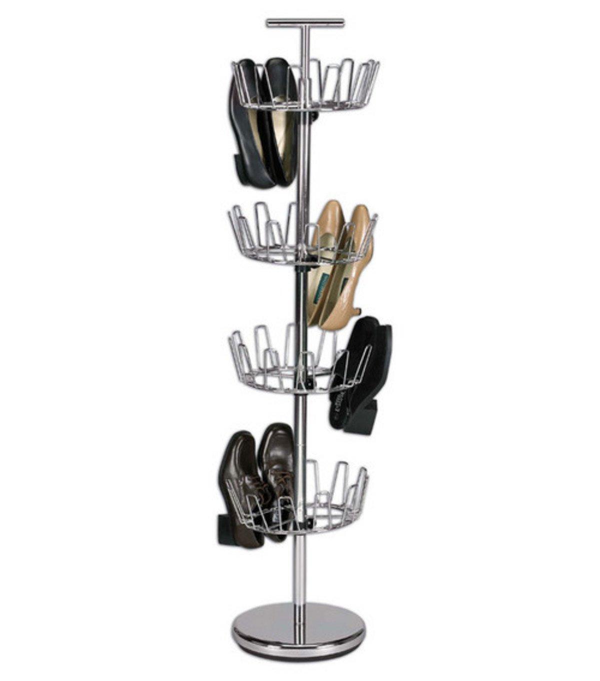 upright 24 revolving shoe organizer tree stand footwear