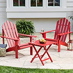 Outdoor Patio Adirondack Chairs with Side Table Made From Durable, Eco-friendly Acacia Wood Comes In Vivid Red Painted Finish