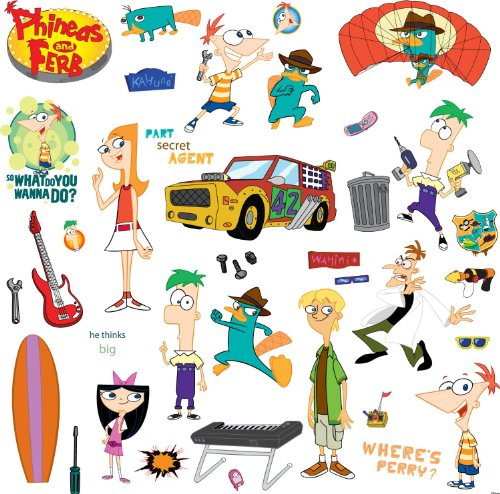 RoomMates RMK1536SCS Phineas and Ferb Peel & Stick Wall Decals
