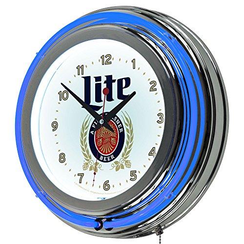 trademark-gameroom-miller-lite-chrome-double-rung-neon-clock
