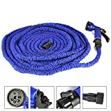 Round Rich 100ft Latex Expanding Hose Magic Flexible Expandable Garden Water Hose with 8 Functions Spray Nozzle, Hose hook including.(Blue, 100FT)