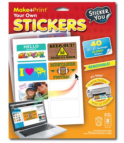 "StickerYou Make+Print Rectangle 3.75"" x 2.25"" Glossy Stickers (Pack of 40 stickers)"