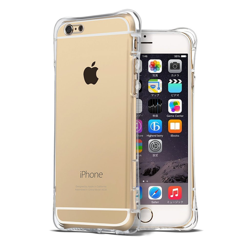 CornMi Ultra Thin TPU Gel Case with Air Cushion Bumper for iPhone 6 / 6S - Crystal Clear