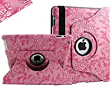 SANOXY� 360 Degrees Rotating Stand (Pink Flower) Luxury Leather Case for Apple iPad 2 with Smart Cover Wake/Sleep Function (Retail Packaging)