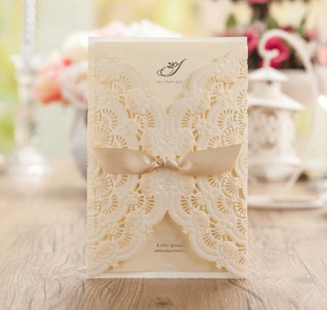 WISHMADE Laser Cut Invitations Cards Kit Beige Printable 50 Count for Wedding Birthday Bridal Shower with Envelopes Seals 0