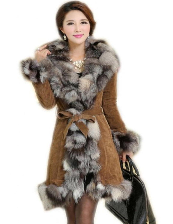 YR Lover Lange Fuchs Pelz&Leder Mantel Jacke&Super Kragen günstig online kaufen