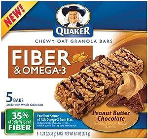 Quaker Fiber & Omega-3 Chewy Oat Granola Bars-Peanut ...