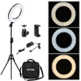 Zomei 12-inch Inner/14-inch Outer LED Ring Light 36W 5500K Lighting Kit with Tripod Stand Ball Head and Phone adapter for Camera Smartphone Youtube Video Shooting (Color: Dimmable ring light, Tamaño: 14 inch dimmable)