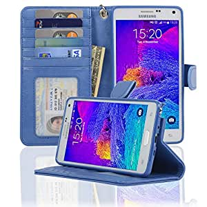 Samsung Galaxy Note 4 Folio PU Leather Wallet Case with Screen Protector - Navor (Hot Blue)