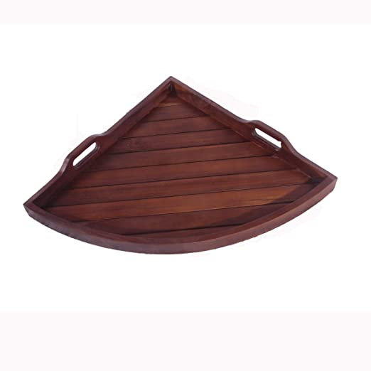 Medium Corner Solid Teak Serving Amenity Display Tray- 14 Inches X 19 Inches Across- For Bathroom, Kitchen, Patio, Bedroom