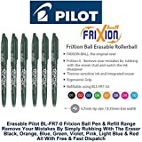 Pilot Green Frixion Rollerball Erasable Pens Pen 0.7mm Nib Tip 0.35mm Line BL-FR7 (Pack Of 3)