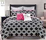 12 Piece Modern Bedding Black, White and Pink Chic KING Comforter Set - Bed In A Bag with Sheets, Pillow cases, Euro Shams and accent pillows