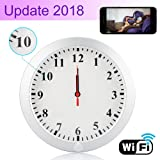 CAMXSW HD 1080P WiFi Spy Camera ( 5000mAh Battery ) Wall Desk Clock Hidden Camera Alarm Clock for Home Security Nanny Cam Support IOS/Android/PC Remote Real-time Video and Motion Detection Alarm
