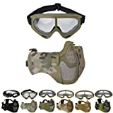 Outgeek Airsoft Mask, Lower Steel Mesh Mask Protective Half Face Mask UV Protection Glasses Comfortable and Cool Mask Goggles Set for Adult Men Women Children (Color: Camouflage)