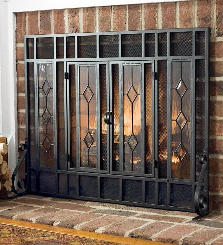 Small Beveled Glass Diamond Fireplace Screen With Alternating Panels And Small Powder-Coated Tubular Steel Frame, in Black