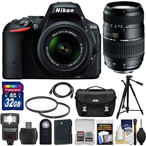 Nikon D5500 Wi-Fi Digital SLR Camera & 18-55mm G VR DX II (Black) with 70-300mm Lens + 32GB Card + Case + Battery + Flash + Tripod + Filters + Kit
