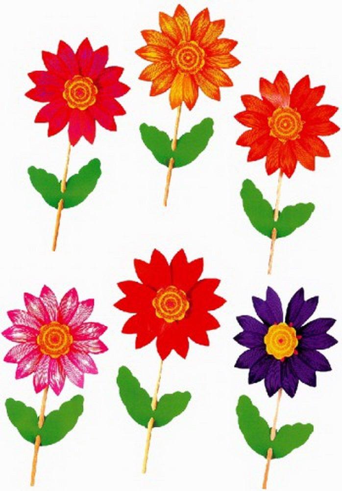 Windrad mit Blumenmotiv sortiert mit 48St.