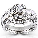 Round-cut Bridal Ring Set 3/4 Carat (ctw) in 14k White Gold