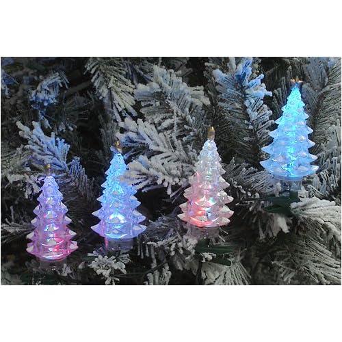 Set Of 4 Multi Color LED Christmas Tree Holiday Lights   Green W