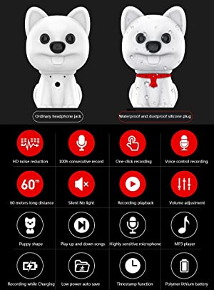 SNLY Mini Digital Voice Recorder - Cute Dog Decoration,100H Continuous Recording,One Button Recording and Perfect Save,USB Rechargeable,Black,8GB (Color: Black, Tamaño: 8GB)